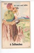 (n°591) CPSM 74 SALLANCHES Carte à Systeme Ou Tiroire L´air Est Pur Les Vues Sont Belles à Sallanches N°32 Complet - Sallanches
