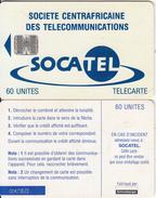 CENTRAL AFRICAN REPUBLIC - SOCATEL Logo Blue(60 Units), Chip SC7, Black Schlumberger Logo-white BN, Used - Central African Republic