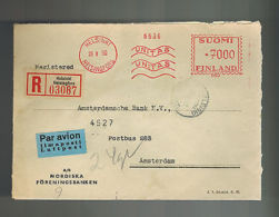 1950 Helsinki Finland Airmail Meter Cover Amsterdam Bank Holland - Unclassified