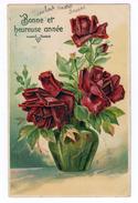 Bonne Année. Bouquet De Roses Rouges, Carte Légèrement Gaufrée. (1399) - Nouvel An