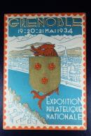 France: Carte Postal Sameuse   20 C.  Type I3b  Exposition Philatelique Nationale Grenoble Mai 1934 - Postwaardestukken