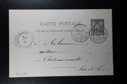 France: Carte Postal Sage 10C.   Type G 5 Carton Violet Repiquage Société De Toulouse - Biglietto Postale