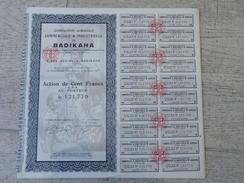 Compagnie Agricole Commerciale Et Industrielle De Badikaha - 100 F 1927 Grand Bassam - Afrique