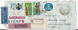 SOM039 - SOMALIA - LETTERA (STAMPE) RACCOMANDATA ESPRESSO PER VIA AEREA - DA MOGADISCIO A TRENTO -  VIAGGIATA 01.06.1964 - Somalia (1960-...)