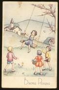 BUONA PASQUA - CHILDREN - BAMBINI - ENFANTS - KINDER - VIAGGIATA NEL 1943 DA POLA  (28) PIEGA ORIZZONTALE - Pasqua
