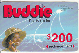ZIMBABWE - Girl On Phone, Buddie Recharge Card $200(thick), Exp.date 01/01/03, Used - Zimbabwe