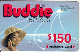 ZIMBABWE - Girl On Phone, Buddie Recharge Card $150(thick), Exp.date 01/01/04, Used - Zimbabwe