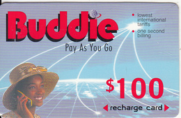 ZIMBABWE - Girl On Phone, Buddie Recharge Card $100(thick), Exp.date 01/03/00, Used - Zimbabwe