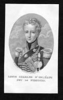 """""""Louis Charles D'Orleans Duc De Nemours"""" - Louis D'Orleans Duc Nemours Portrait Stahlstich Engraving Gravure - Prenten & Gravure"""