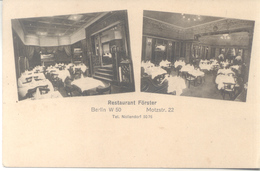 RESTAURANT FORSTER BERLIN 1900s MULTIVUES RARISIME CPA TRES BON ETAT UNCIRCULATED - Hotel's & Restaurants