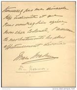 Lettre Autographe De Marie Armand Patrice De Mac Mahon, 129e Régiment D´infanterie, Fils Du Maréchal De Mac Mahon - Handtekening