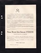 STEVOORT Mélanie STUCKENS Baronne De GROOTE 1831-1909 Doodsbrief PALMERS - Décès