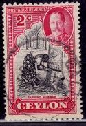 Ceylon, 1935, Tapping Rubber Tree, 2c, Scott# 264, Used - Ceylon (...-1947)