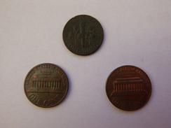 Etats Unis Lot 3 Pièces 1 Cent 1982 Et 1987 Et 1 Dime 1975 - Monnaies
