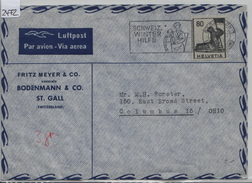 Luftpost Par Avion 246/380 - Stempel: St. Gallen Schweiz. Winterhilfe Nach Columbus (Fritz Meyer & Co.) - Schweiz