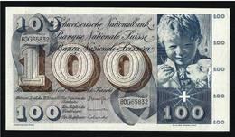 SVIZZERA - Banconota Da 100 Franchi Svizzeri  CHF - Fior Di Stampa - FDS - 10 / Febbraio / 1971 - (2 Foto) - Lotto 000 - Svizzera