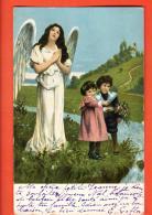 IBK-15 Ange Et Enfants Avec Bouquet De Fleurs. Précurseur, Cachet 1904 - Anges