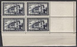 MONACO 1949  BLOC DE 4 TP COIN DE FEUILLE  N° 37  - NEUFS** - Posta Aerea