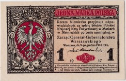 POLAND 1916 German Occuptaion  1 Marka General Uncirculated - Polen