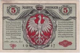 POLAND 1916 German Occuptaion  5 Marek General Circulated (no Holes Or Tears) - Poland