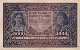 POLAND 1920 5000 Marek Uncirculated III Serja AA N 224264 (corner Bends) - Poland