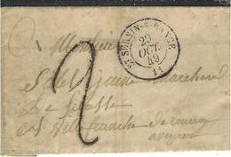 1849- Lettre De St SERNIN-S-RANCE ( Aveyron) Cad T15 Taxe 2 D Tampon Pour Villefranche - Marcophilie (Lettres)