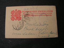 India Card  1889 - Travancore