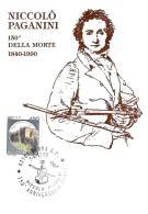 [MD1011] CPM - IN RILIEVO - NICOLO' PAGANINI - 150° DELLA MORTE - BERTOLETTI - CON ANNULLO 7.4.1990 - NV - Cantanti E Musicisti