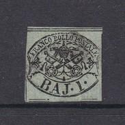Italian States Papal States 1852 Baj 1 Grey Green Used - Papal States