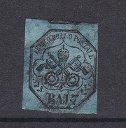 Italian States Papal States 1852 Baj 7 Azur Used - Papal States