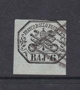 Italian States Papal States 1852 6 Baj Grey Used - Papal States