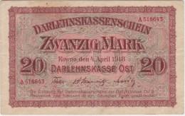 POLAND 1918 Kowno 20 Mark  Circulated A.516643 - Poland