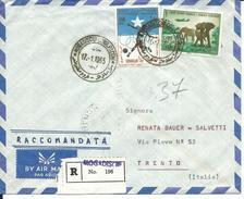 SOM054- SOMALIA - LETTERA  RACCOMANDATA PER VIA AEREA - DA MOGADISCIO A TRENTO -  VIAGGIATA 17.01.1965 - Somalia (1960-...)