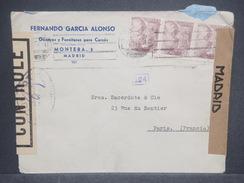 ESPAGNE - Enveloppe Commerciale De Madrid En 1945 Pour Paris Avec Contrôle Postal, Censure De Madrid - L 7358 - Marcas De Censura Nacional