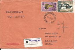 SOM055- SOMALIA - LETTERA  RACCOMANDATA PER VIA AEREA - DA MOGADISCIO A TRENTO -  VIAGGIATA 18.02.1965 - Somalia (1960-...)