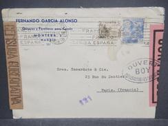 ESPAGNE - Enveloppe Commerciale De Madrid En 1945 Pour Paris Avec Contrôle Postal, Censure De Madrid - L 7359 - Marcas De Censura Nacional