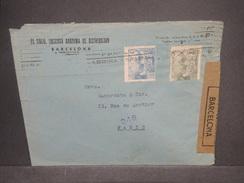 ESPAGNE - Enveloppe Commerciale De Barcelone En 1945 Pour Paris Avec Contrôle Postal, + Censure De Barcelone - L 7366 - Marcas De Censura Nacional