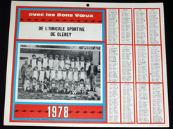Calendrier 1978 Amicale Sportive De Clerey ( Troyes ? Aube ? ) équipe De Football - Format 24X29cm Env - Calendars