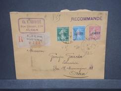 FRANCE / ALGÉRIE - Enveloppe En Recommandé De Alger Pour Oran En 1926, Affranchissement Plaisant - L 7382 - Argelia (1924-1962)
