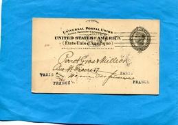 "MARCOPHILIE-U S A>Françe-carte  Entier Postal 2c""repiquage M FRANK""-cad Philadelphia 1900"