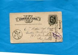 "MARCOPHILIE-U S A>New York--carte  Entier Postal 1c""""-cad 1883-"