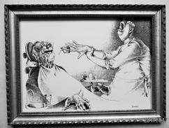 LITHOGRAPHIE- DESSIN   De Claude SERRE - MEDECINE * CHEZ Le DENTISTE * Humour Noir Et Hommes En Blanc   * 4 - Lithographies