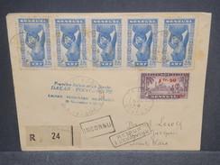 FRANCE / SÉNÉGAL - Enveloppe 1er Vol Dakar / Pointe Noire En 1943 Avec Contrôle Postal , Affr. Plaisant - L 7393 - Sénégal (1887-1944)