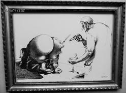 LITHOGRAPHIE- DESSIN De Claude SERRE - MEDECINE * CHEZ L'INFIRMIER E  * Humour Noir Et Hommes En Blanc   * 2 - Lithographies
