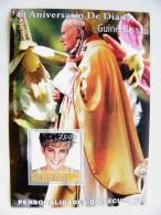SALE! Guinea-Bissau M/s 2001 Lady Diana Spencer Pope John Paul II Orchids - Guinea-Bissau