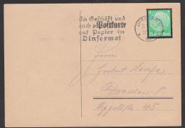 """Dresden Ortskarte Mit Trauermarke 5 Pf Hindenburg MWSt. """"Im Geschäft ... Dinformat"""" 1935 - Briefe U. Dokumente"""