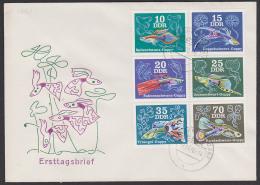 Fische Guppy Satzbrief DDR, FDC, Bundschwanz-Guppy, Triangel-Guppy - [6] République Démocratique