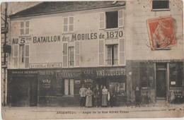 CPA 95 ARGENTEUIL Angle De La Rue Alfred Collas Commerce Café Au 5° Bataillon Des Mobiles De 1870 Maison COLLAS - Argenteuil