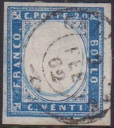 Sardegna 20 Cent. Indaco Chiaro N. 15Eb - Firamato CH - A.D. - Sardegna