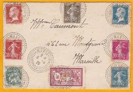 1926 - Enveloppe De Marseille Congrès Philatélique Cad Cercles Vers La Ville - Affrt Pasteur, Merson,Semeuse, Blanc - Storia Postale